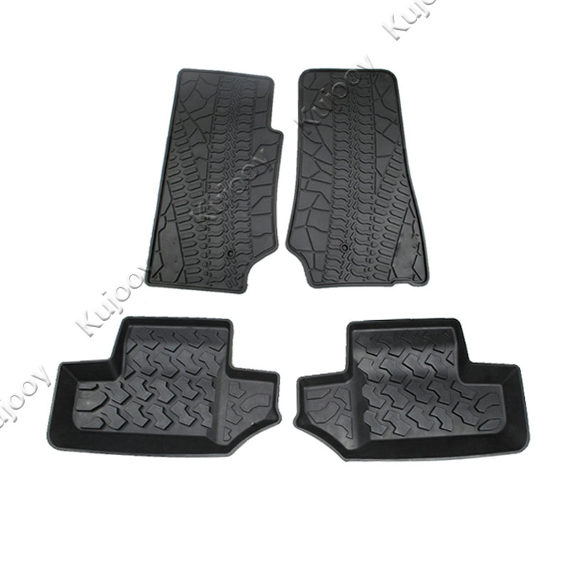 Black Plastic Car Floor Mats Carpets Foot Pads Interior Decoration Accessories For Jeep Wrangler 2007-2016 2-Door Car Styling