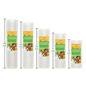 Image 2 - Bolsas de plástico al vacío para el hogar, sellador al vacío para alimentos, 12 + 17 + 20 + 25 + 28cm * 500cm, 5 rollos/lote, rollos de envasado al vacío