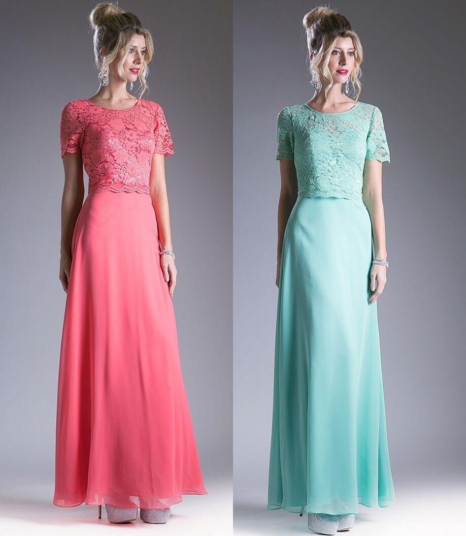 Coral Short Sleeves Lace Chiffon Long Bridesmaid Dresses