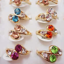 10pcs Fashion Rings Wholesale lots Gold Color Crystal Rhinestone Finger Band for Women Men Girls