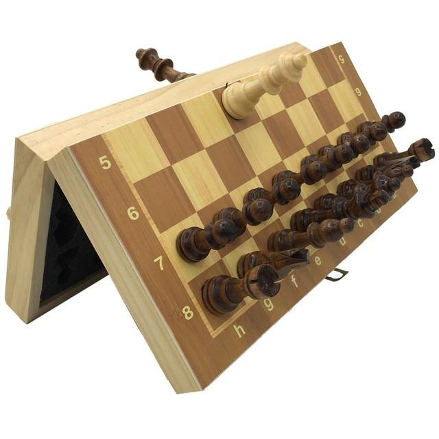 Ensemble d'échecs magnétiques et pliants en bois, taille 23.7cm x 23.7cm 2