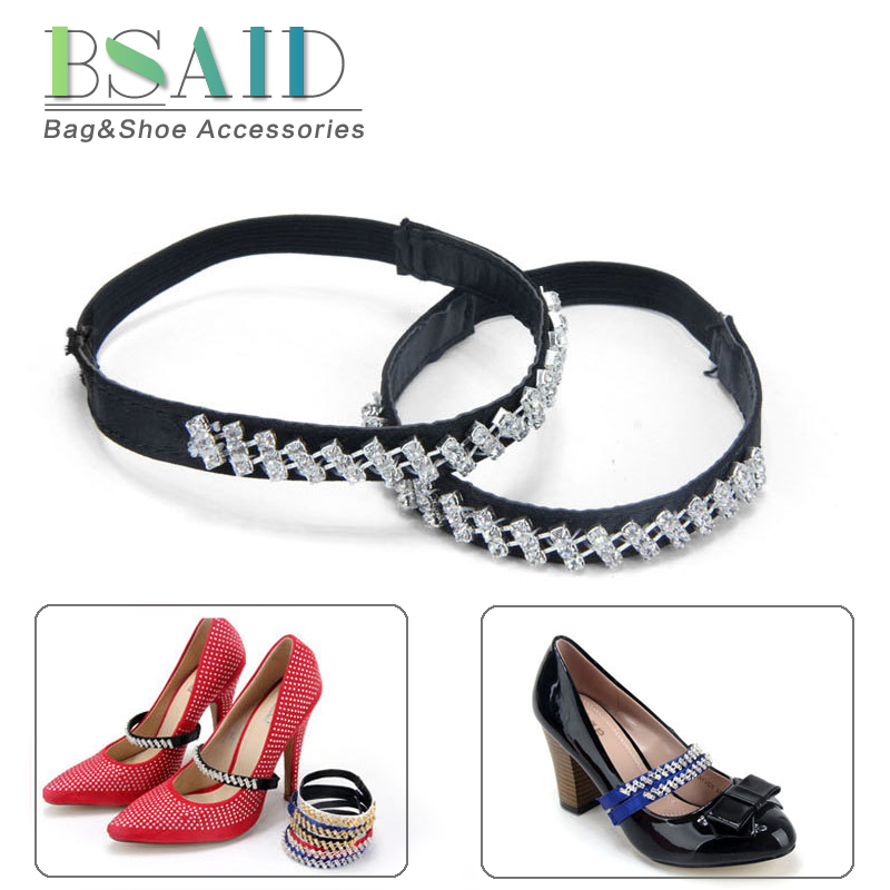 BSAID 1 Pair Wave Rhinestone Shoe Charms For Women Shoes Accessories New Crystal Bondage Elastic Strap Heels Shoe Decorations