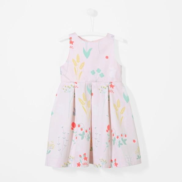 Girls dress summer cotton princess dress big boy 2018 new children's clothing satin jacquard box pleated floral jacquard satin cami dress
