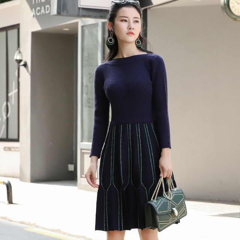 High Quality French Fashion 2018 Autumn Winter New Line Embroidery Cubic Hollowed Out Long Sleeved Knitted Little Black Dresses Beneficial To Essential Medulla Women's Clothing