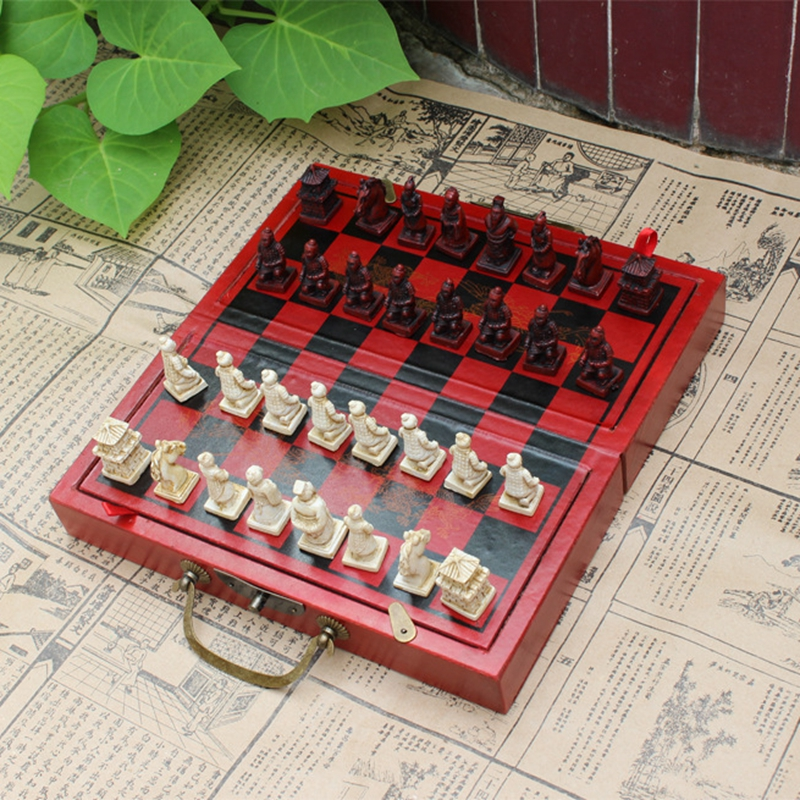 ФОТО 1Set Professional International Chess Game Wooden Chess Classic Standard Folding Educational Antique Terracotta Chess Pawn