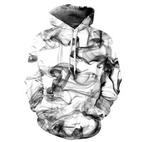 Fashion Men Women 3d Sweatshirts Brand Print Watercolor Dreamy Smoke Lines Thin Style Autumn Winter Hooded