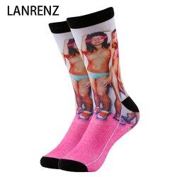 2020 г. Ярко-розовый купальник с принтом для девочек, для мужчин и женщин, модные забавные носки с 3d принтом 200 г. Трикотажные Компрессионные но...