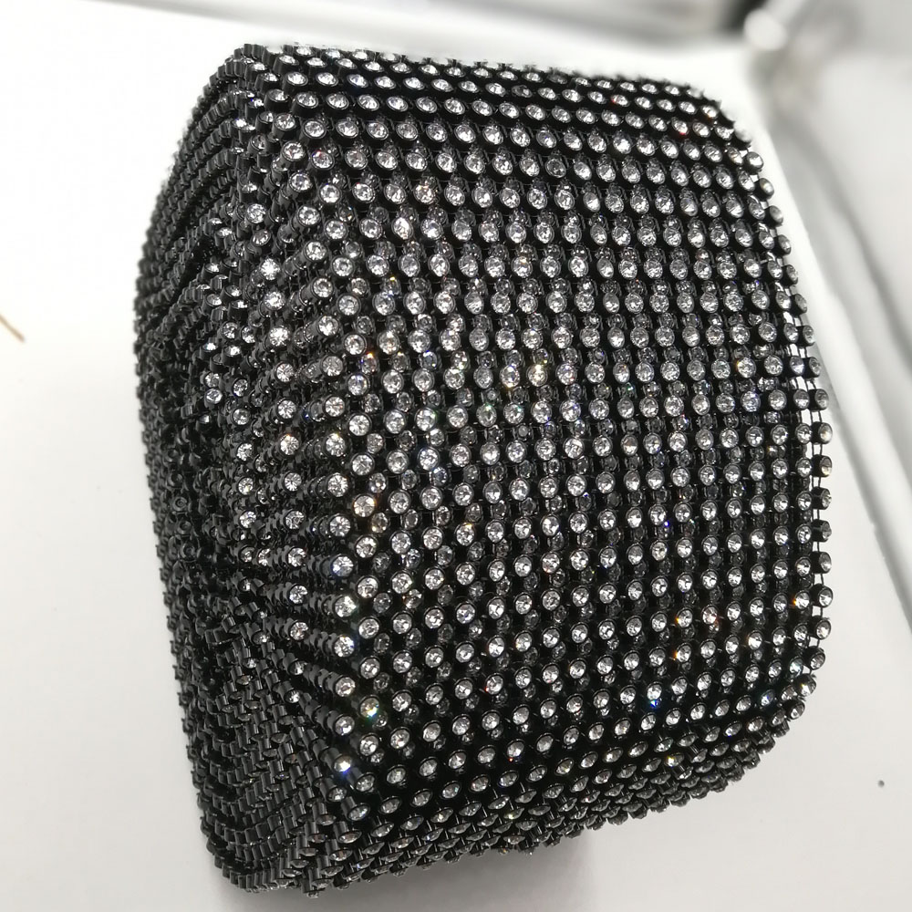 10 Yards lot Ss20 18 Rows Black Base Crystal Stones Stretchy Sewing Rhinestones Mesh Strass Trim