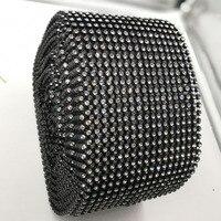 7 метров/lot SS20 18 рядов черная основа хрустальные камни эластичный Стразы сетки strass отделкой для одежды