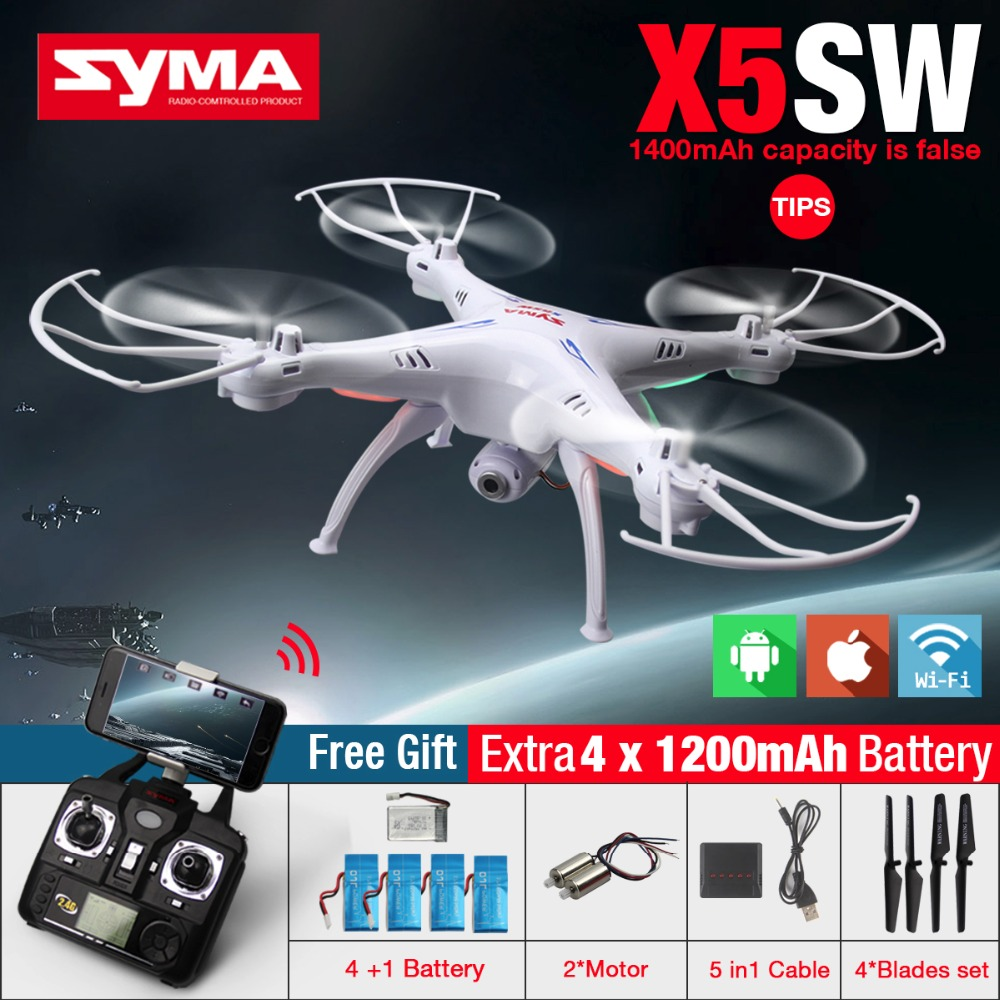 Hot! SYMA X5SW WIFI RC Drone FPV Quadcopter with 2.0MP Camera 2.4G 6-Axis Real Time RC Helicopter Quad copter Toys Free Shipping