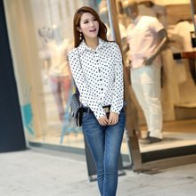 Fashion Stylish Women Chiffon Polka Dot Long Sleeve Loose Tops Blouse Casual Shirt Newest stylish sleeveless polka dot chiffon dress for women