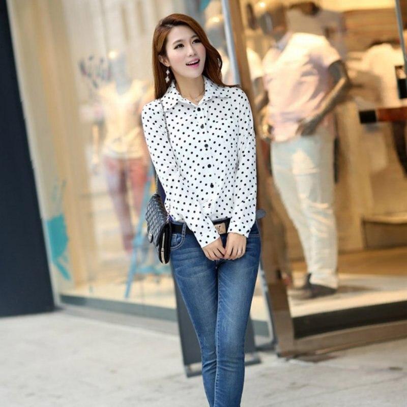 2019 Spring Women   blouse   Chiffon Polka Dot Long Sleeve Loose Tops Plus Size Casual   Shirt