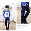 2017 Nova Primavera Crianças Casuais Meninos Calças Jeans de Lavagem de Luz Jeans Regular para Meninos Cintura Elástica Miúdo Dos Desenhos Animados das Crianças das calças de Brim P269
