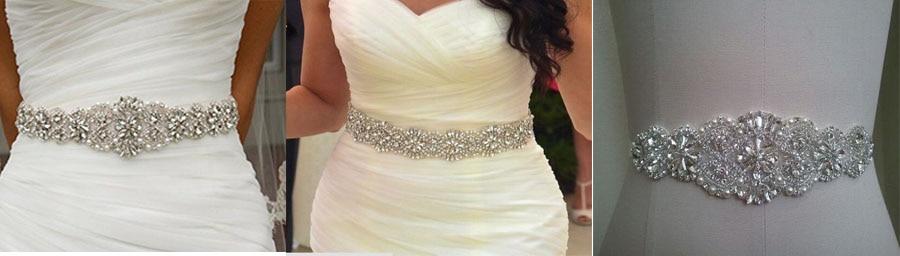 Beaded Crystal Rhinestone Applique Bridal For Wedding Dress Belts