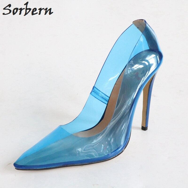 16bd6f6fd5 Sorbern pink see through pvc high heels women pumps pointed toe slip ...