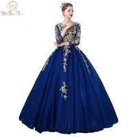 Walk Beside You Royal Blue Quinceanera Dresses Three Quarter Sleeves Lace Applique Beaded Ball Gown Vestidos
