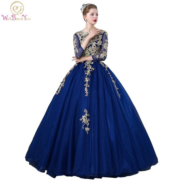 Walk Beside You Royal Blue Quinceanera Dresses Three Quarter Sleeves Lace Applique Beaded Ball Gown Vestidos Debutante Robe