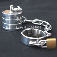 Steel Scrotum Heavyweight Bound With Chain Male Chastity Devices Sex Fetish Toys For Men 845g