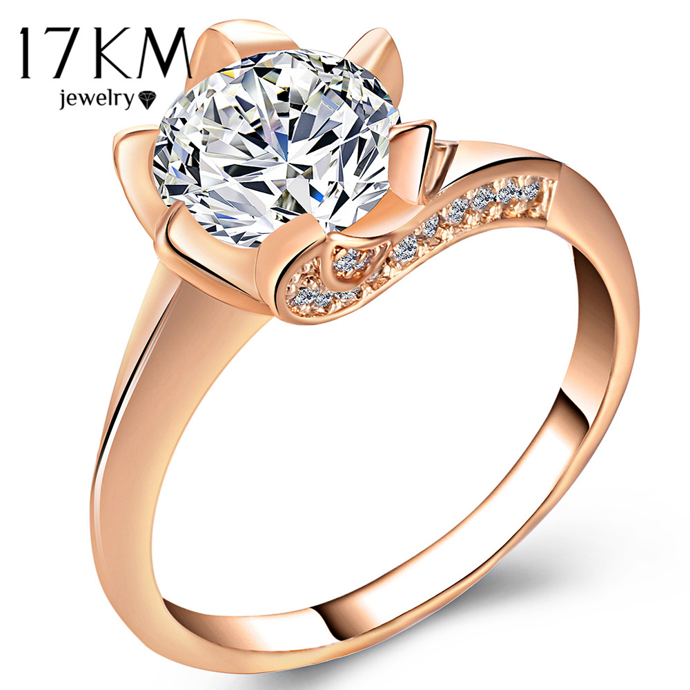 17KM Big Cubic Zirconia Wedding Engagement Rings For Women Rose Gold Silver Color Ring Female Statement Jewelry Party Gifts