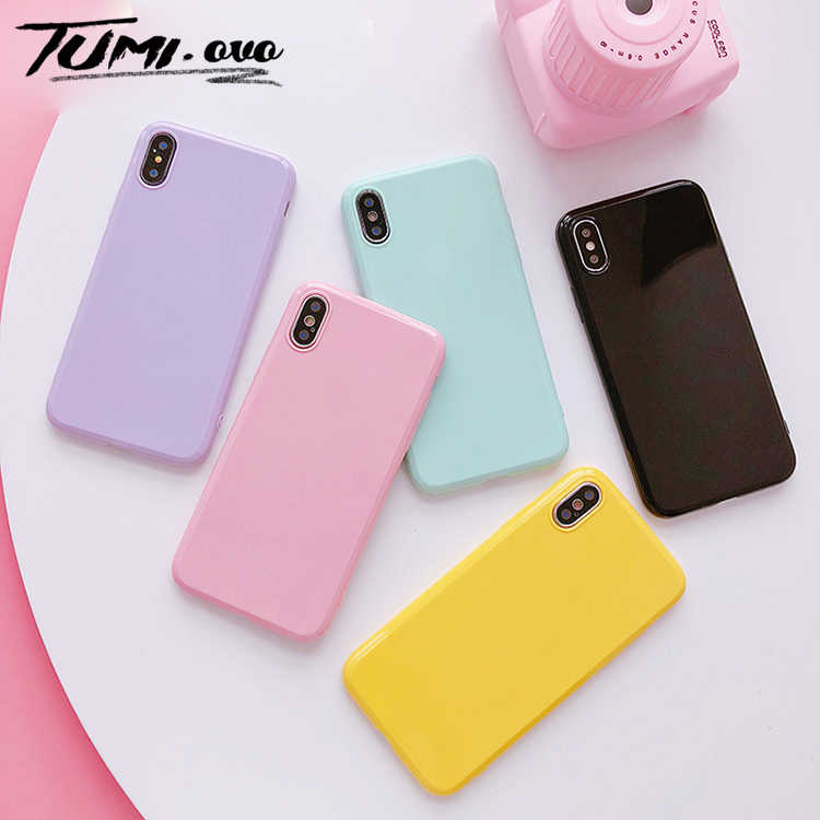 Macaron Smooth Candy Soft TPU Case For iPhone X Case Silicon For  iPhone 6 6S 7 8 Plus Xr Xs Max Back Phone Cover Cases Capa