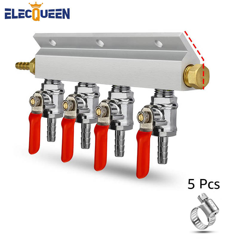 CO2 Distributor Manifold, 7mm Hose Barb 4 Way Beer Gas Manifold Splitter with Check Valves Beer Kegerator Home Brew Accessories image