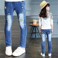 Berymond 2017 Autumn Jeans Girls Children's Pants Large Children Casual Prints Jeans Trousers Clothes High Quality Child Jeans