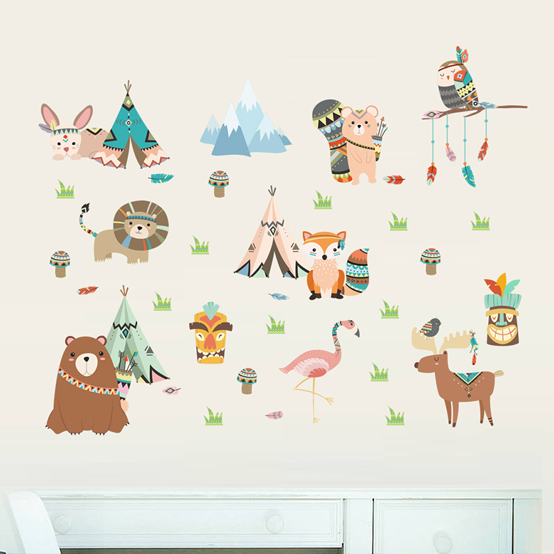 Funny Animal Indian Tribe Wall Stickers For Kids Room Home Decor Accessories Cartoon Owl Lion Bear Fox Wall PVC Mural Art Decals in Wall Stickers from Home Garden