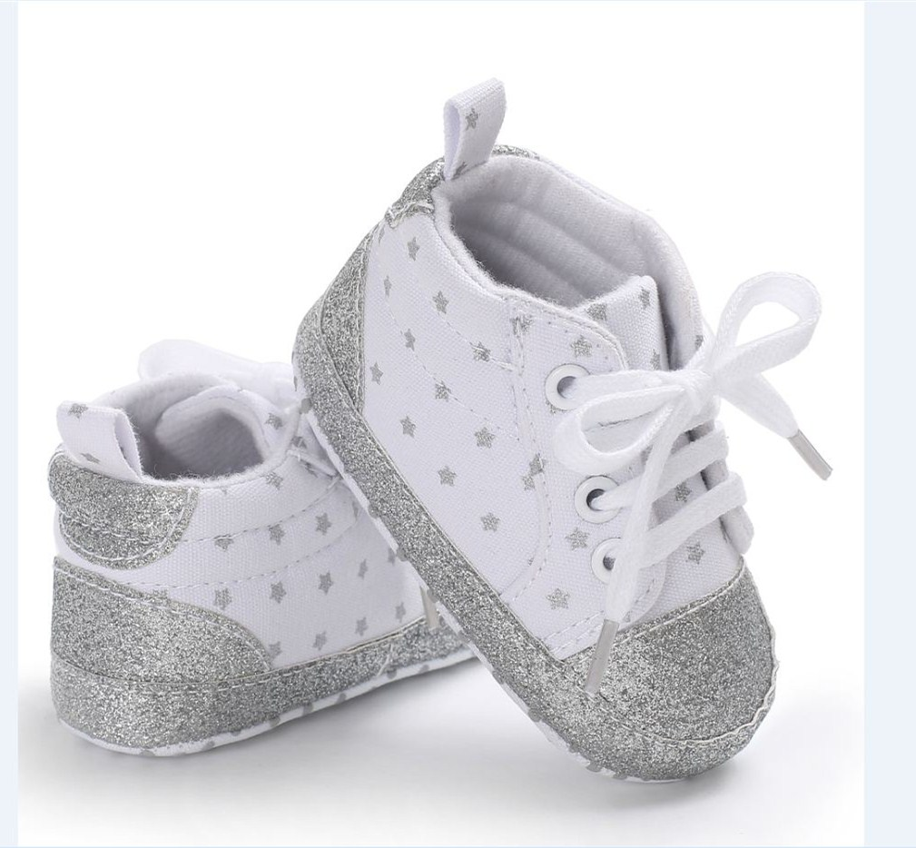 Infant Newborn Baby Girls Polka Dots Heart Autumn Lace-Up Crib Shoe Sneakers Shoes Toddler Classic Casual Shoes 0-18
