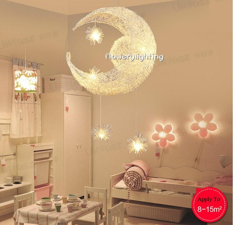 kinderkamer verlichting maan en sterren aluminium hanglamp gepersonaliseerde moderne lamp hanglamp 5g4 kind slaapkamer lamp in kinderkamer verlichting maan