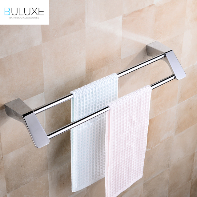 us 46 33 49 off buluxe double towel bars brushed stainless steel bathroom towel hanger towel rack wall mounted bathroom accessories ifg734 in towel rh aliexpress com bathroom towel hanger height bathroom towel hanger set