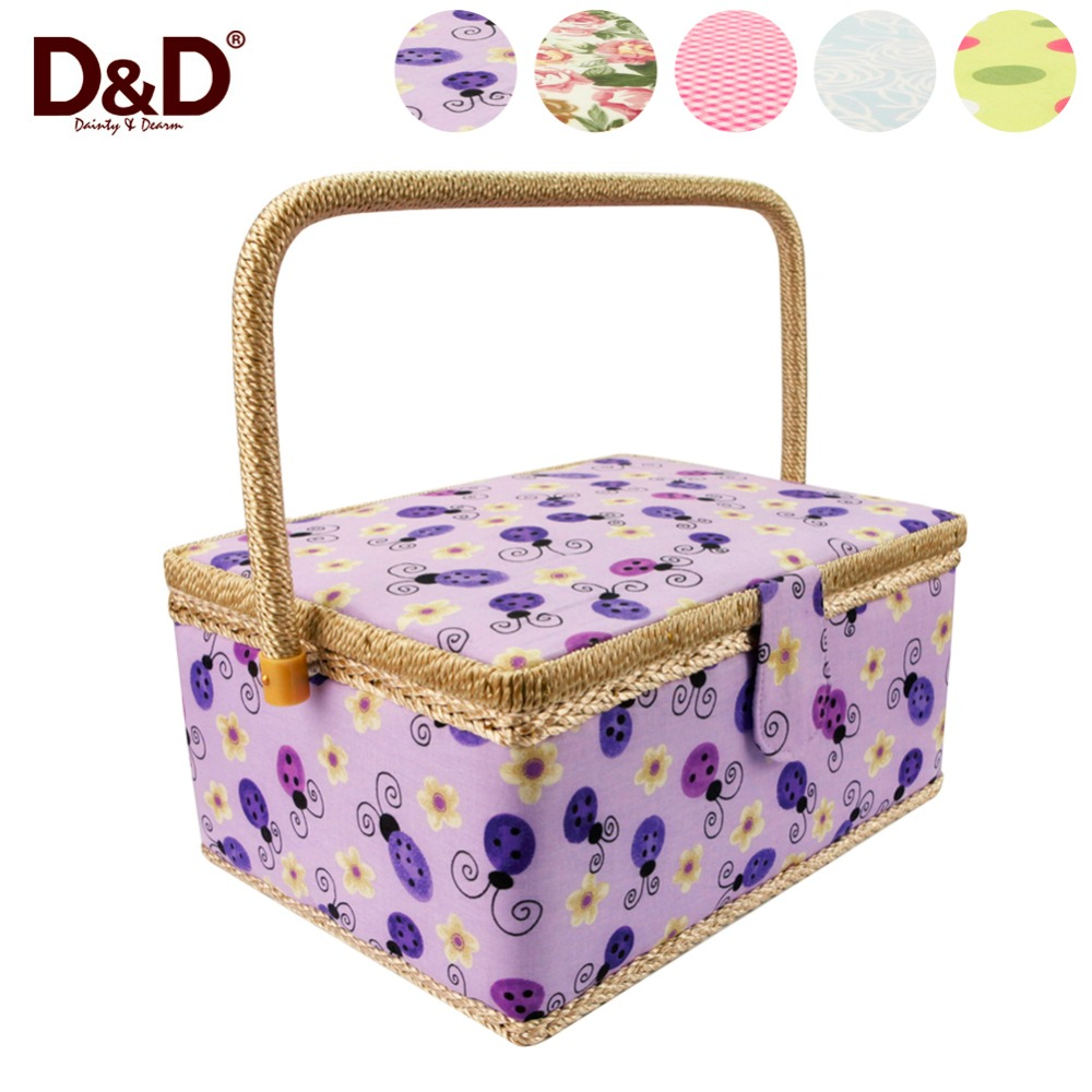D&D Handmade Gift Box Sewing Box Large with Handle Fabric Craft Sewing <font><b>Basket</b></font> with Sewing Accessories 30.5*23*16CM