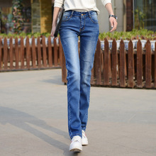 Dżinsy damskie dżinsy dla mamy 2019 nowe modne dżinsy kobieta jeansy ze streczem kobiece sprane dżinsy Mujer Skinny proste spodnie niebieski czarny tanie tanio COTTON Poliester Elastan Pełnej długości AA70 Zipper fly Na co dzień Zmiękczania REGULAR Średni Kobiety NONE 3 COLORS