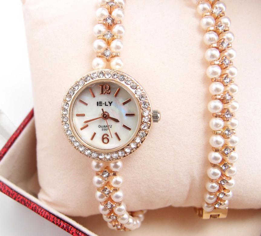 Women Faux Pearl Bracelet Wrist Analog Quartz Crystal Rhinestone Dial Watch#107