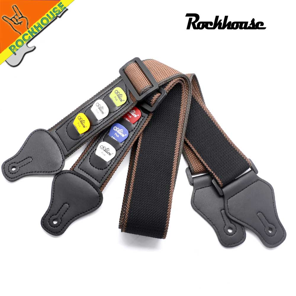 buy electric guitar strap acoustic guitar strap with 3 picks holders leather. Black Bedroom Furniture Sets. Home Design Ideas