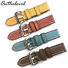 20mm 22mm 24mm Leather Watch Strap Italy Genuine Leather 4 Colors Watchband Brush Buckle Watch Band For Women Man #E real italy leather is directly from the italy 20mm black brown genuine leather watchband with original buckle watchstrap