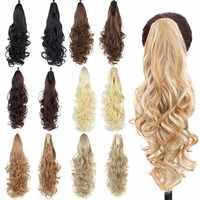 AOSI peruki syntetyczne długie faliste pazur kucyk włosy doczepiane clip in kucyk ogon czarny brązowy blond żaroodporne kobiety
