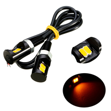 Mayitr 2 uds ámbar 2LEDS motocicleta número de matrícula luz 12V tornillo perno bombilla lámpara para la mayoría de los coches motocicletas