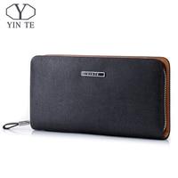 YINTE Men Clutch Wallets Leather Men Purse Hand Bags Wallet Phone Cash Holder Pocket Black Wrist Bags Purse Portfolio T029 2