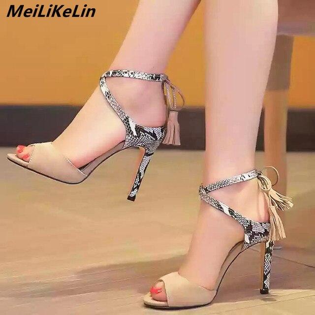 27bf94ce84130c MeiLiKeLin Snake Skin Pattern High Heel Sandals Ankle-Cross-Strap Gladiator Sandals  Women Summer Thin Heel Shoes Party Pumps