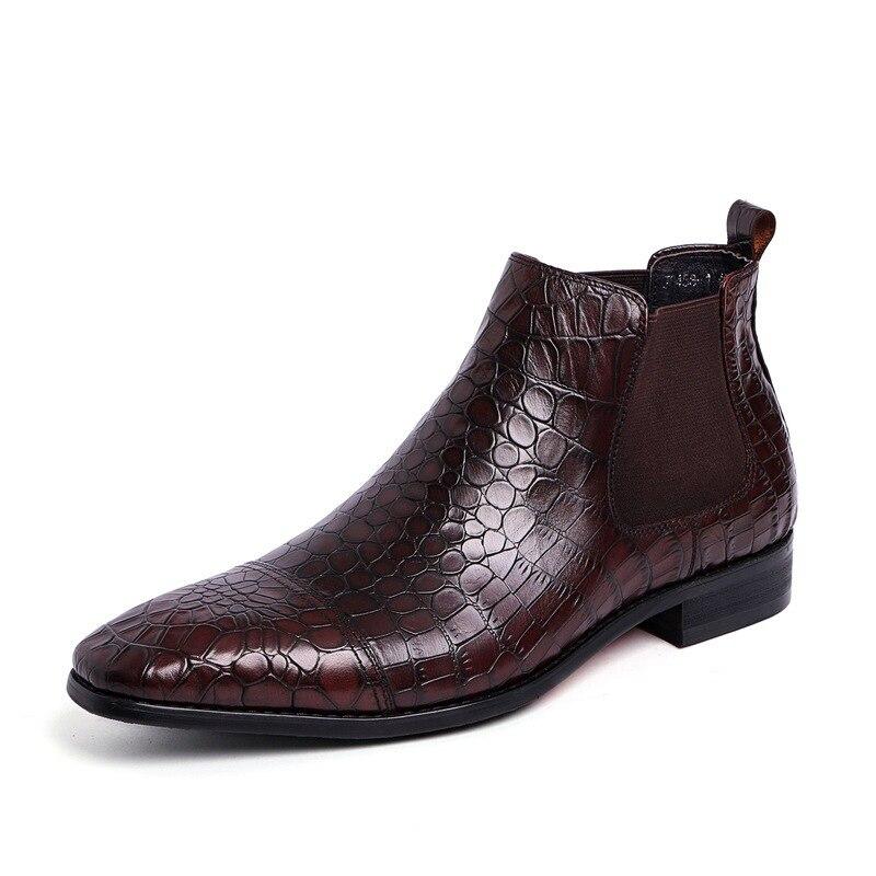 734b8ee919b Motif Serpent Automne Cheville Dressing Cuir De Chaussures brown Mode Black  Chelsea En Adolescent Britannique Bottes Hommes ...