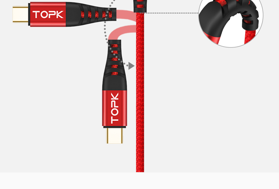 TOPK AN42 3A Type C Quick Charge Cable With 3.0 USB For Xiaomi Samsung And Mobile Phones 16