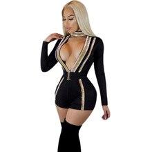 Сексуальный черный комбинезон женский комбинезон шорты глубокий v-образный вырез длинный рукав комбинезон обтягивающий тонкий элегантный одежда для клуба, для вечеринки комбинезон с поясом