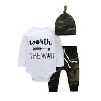 CHUYA 2018 Spring Autumn Baby Boy Clothes Brand Letter Printing Rompers Pants Hats 3PCS Suits Newborn