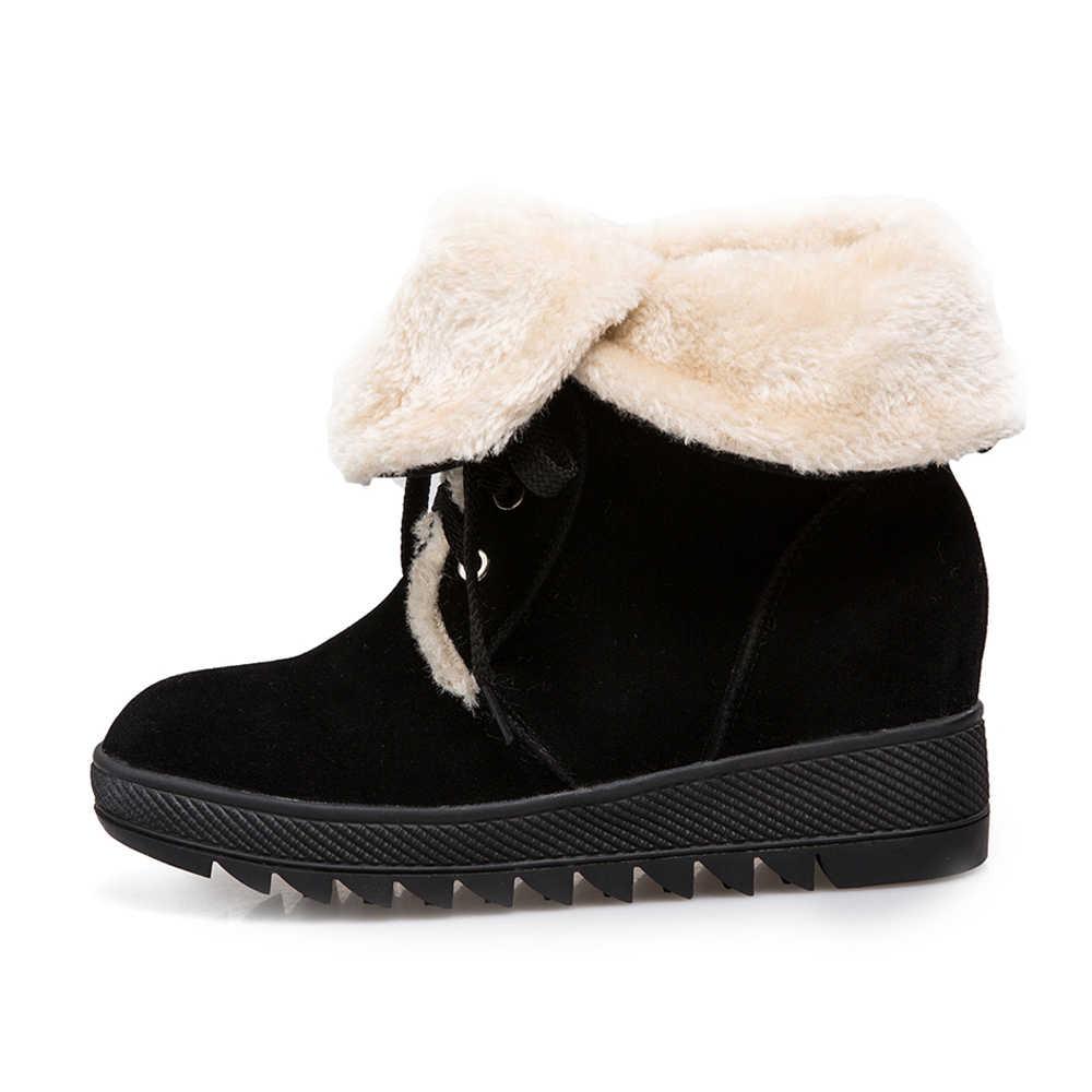 Meotina/зимние сапоги женская обувь ботильоны на танкетке со шнуровкой короткие сапоги на платформе, увеличивающие рост Новые Большие размеры 43