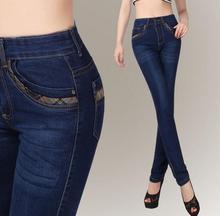 Новое прибытие осень женщины женские высокой талией джинсы брюки Упругие джинсы плюс размер Повседневные брюки A98