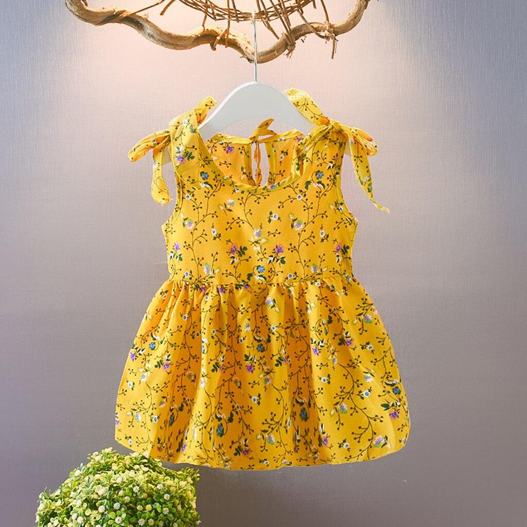 Платье для маленьких девочек; платья принцессы без рукавов с бантом и лентами; Детские Платья с цветочным принтом; Одежда для девочек; Vestidos