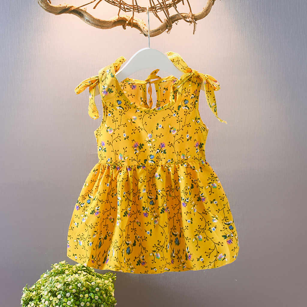 Toddler Baby Kids Girls dress Sleeveless Ribbons Bow Princess Dresses Floral print Kids Dresses For Girls clothes Vestidos