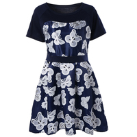 5xl Big Size Dress Woman Clothing Vintage Preppy Printed Vestidos 2018 Summer Youthful Butterfly Printing A