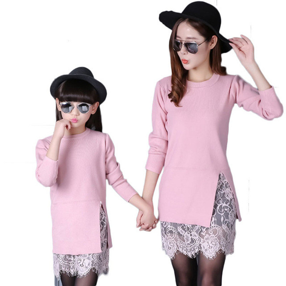 Family clothing lace mother daughter dress mother and daughter clothes long sleeve patchwork mom and daughter dress family look spring new matching mother daughter clothes bow patchwork mother daughter dresses party mom and daughter dress family look dress