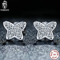 VOROCO 2 Color 925 Sterling Silver Petite Butterfly Stud Earrings Clear CZ Stud Earrings Compatible with VRC Jewelry S439